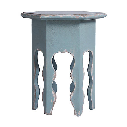 Delilah Side Table, Distressed Teal
