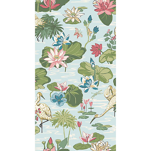 Lake Agawam Madcap Cottage Wallpaper, Nile Blue
