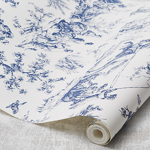 Seasons Toile Wallpaper, Navy