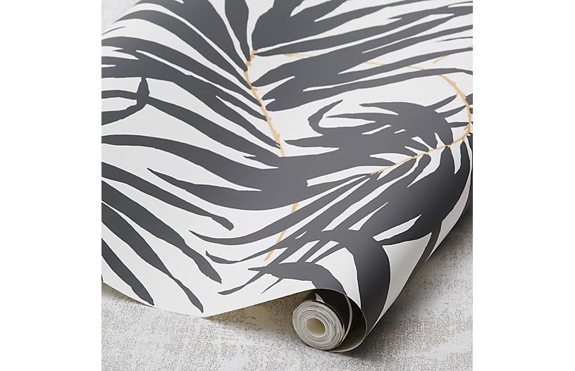 Bali Leaves Wallpaper, Black
