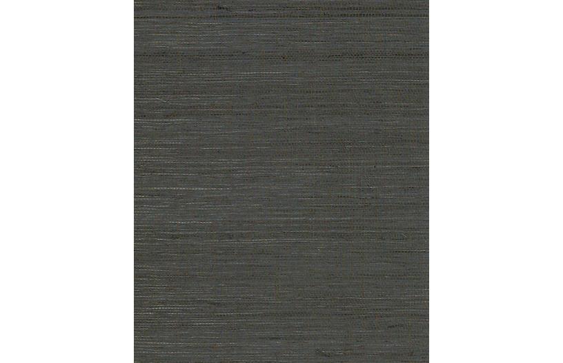 Grass-Cloth Wallpaper, Denim