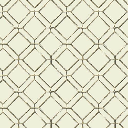 Diamond Bamboo Wallpaper, Mint/Multi
