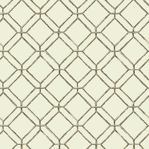 Diamond Bamboo Wallpaper, Mint/Multi