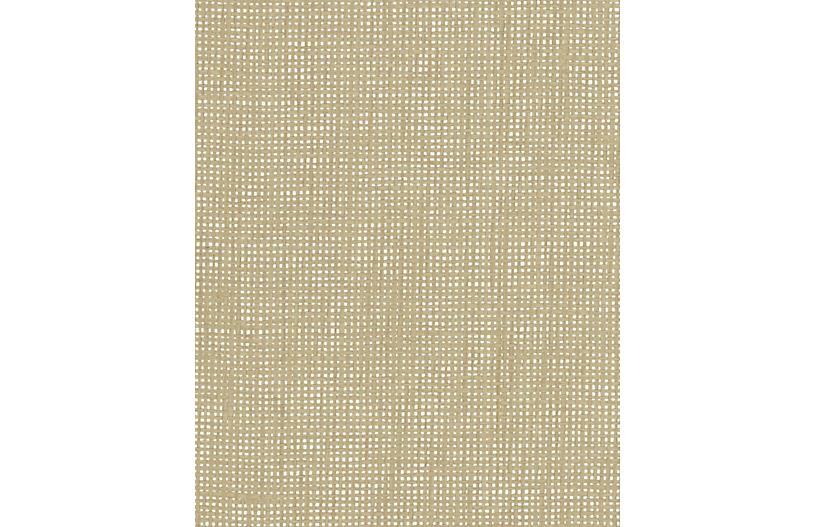 Crosshatch Woven Wallpaper, Beige
