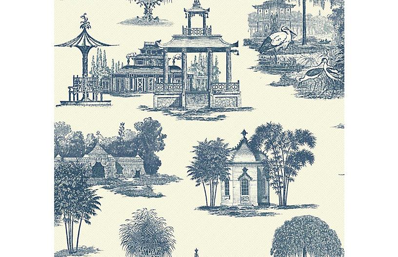 Mandarin Dream Wallpaper, Blue