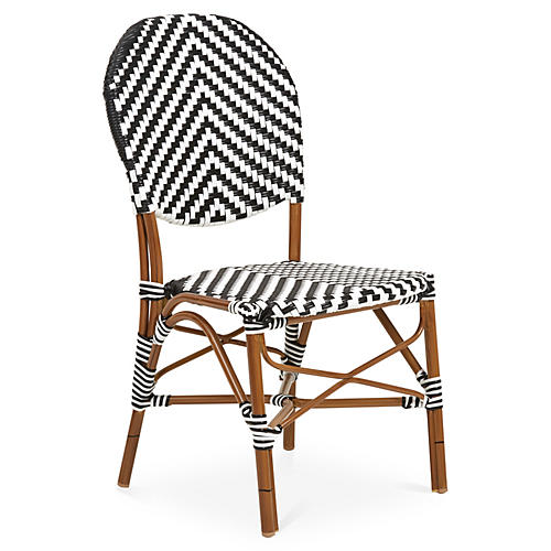 Outdoor Café Bistro Chair, White/Black