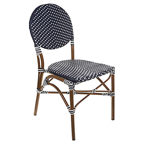 Café Outdoor Bistro Side Chair, White/Navy