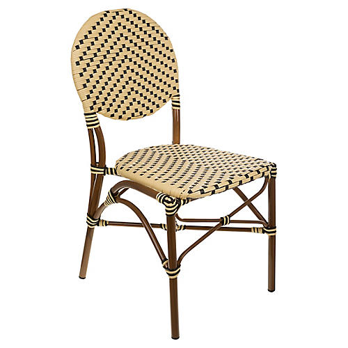 Café Outdoor Bistro Side Chair, Cream/Black