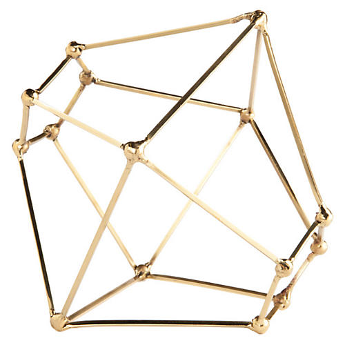 "9"" Polyhedron Sculpture, Brass"
