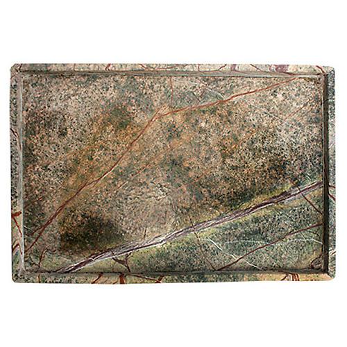 """15"""" Soapstone Rectangle Tray, Green"""