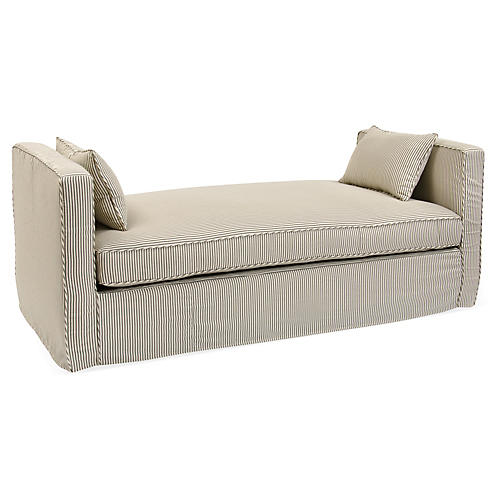 Reed Linen Daybed, Ebony/Ivory