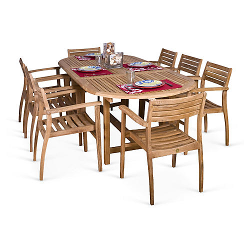 Coventry 9-Pc Teak Dining Set