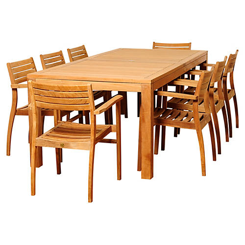 Lynn 9-Pc Teak Rectangular Dining Set