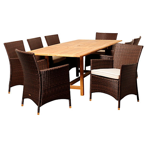 Rob 9-Pc Extendable Dining Set, White