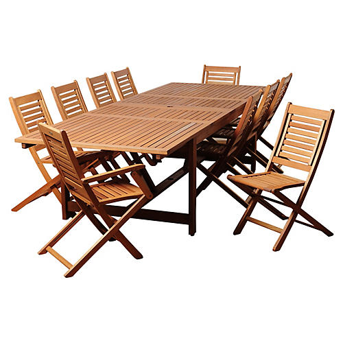 Beth Eucalyptus 11Pc Extendable Dining