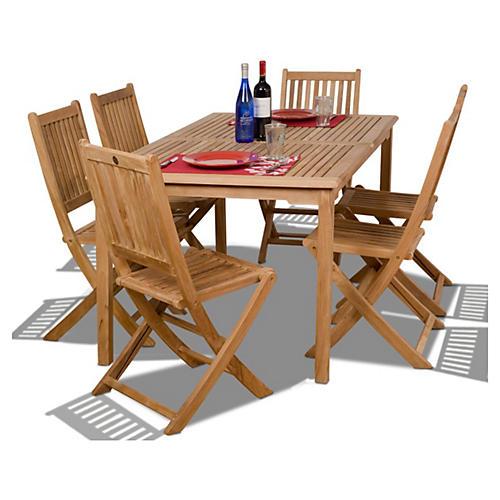 Prague 7-Pc Teak Outdoor Dining Set
