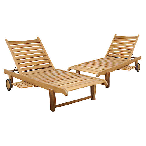 Cairo Outdoor Teak Loungers, Pair