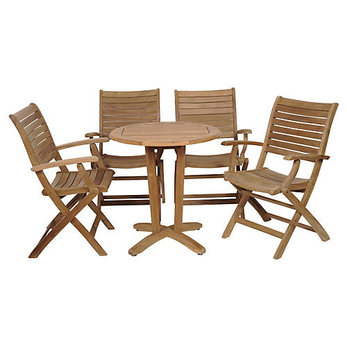 Aruba 5-Pc Teak Round Outdoor Bistro Set