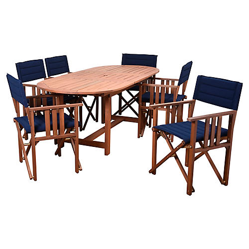 7-Pc Amazonia Valencia Dining Set, Blue