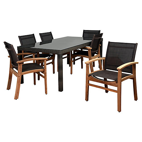 7-Pc Amazonia Vicky Dining Set, Brown