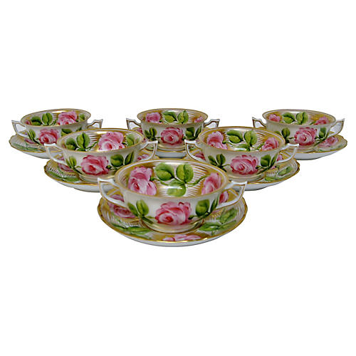 Antique Consommé Bowls, 12 Pcs