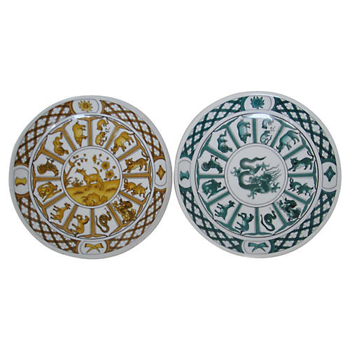 Porcelain Wall Plates, Pair