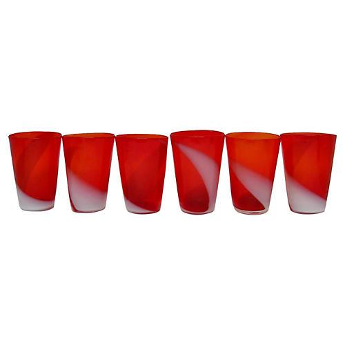 Italian Poppy Glasses, S/6