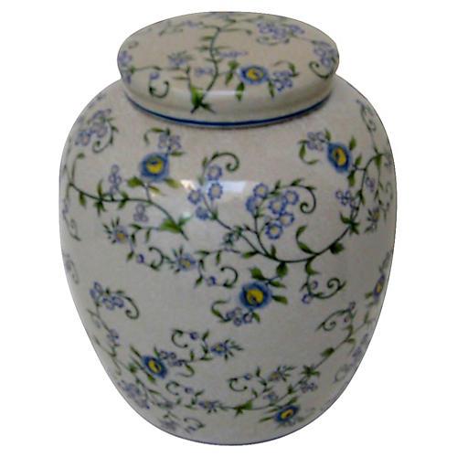Gray Floral Ginger Jar
