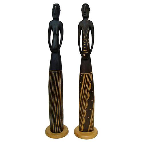 African Wood Figurines, Pair