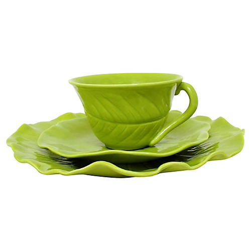 Green Leaf Tea Set, 22 Pcs