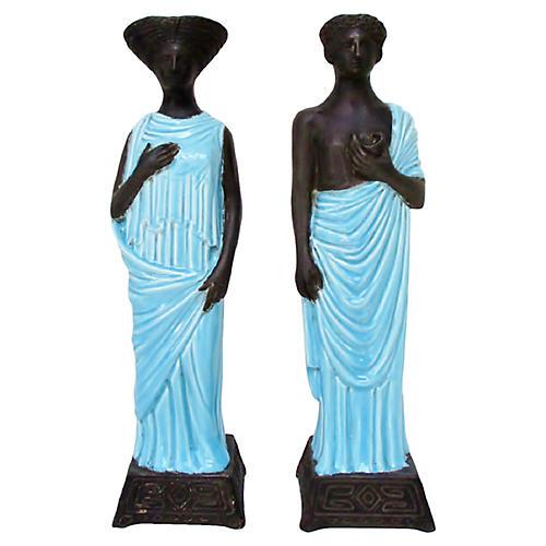 Italian Ceramic Figurines, Pair