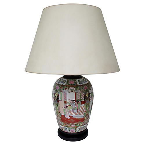 Famille Rose Porcelain Table Lamp