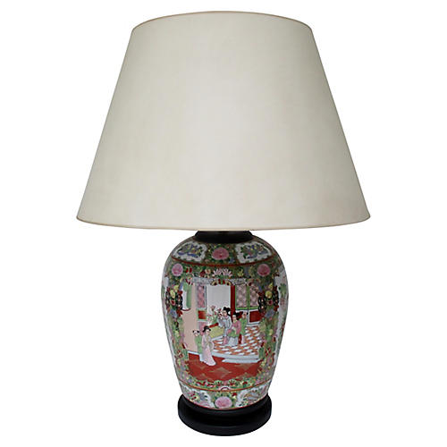 Famille Rose Porcelain Table Lamp