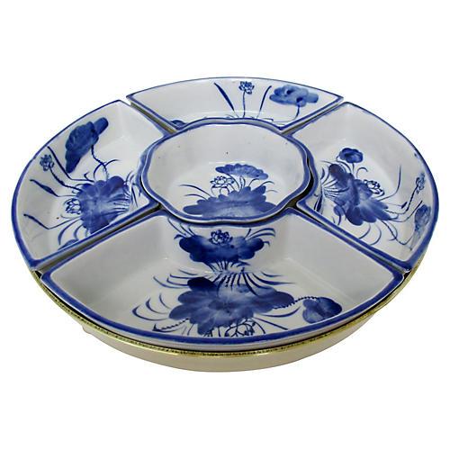 Porcelain & Brass Condiment Bowls, 6 Pcs