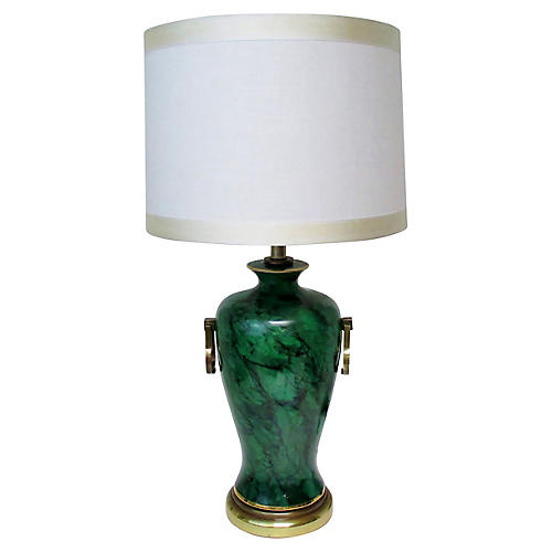 Faux-Malachite Table Lamp