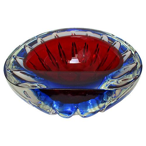 Murano Ruby Glass Geode Bowl