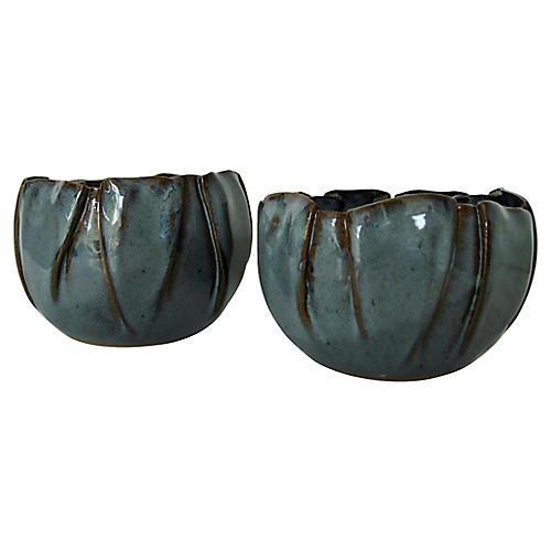 Muted Teal Ceramic Bowls, Pair