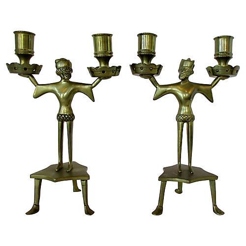 Medieval Men Candelabra, Pair