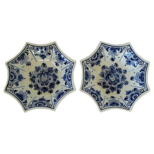Delft Porcelain Bowls, Pair
