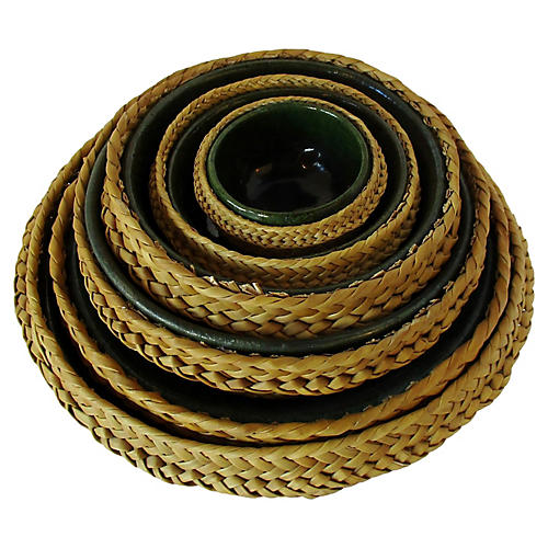 Ceramic & Wicker Nesting Bowls, S/6