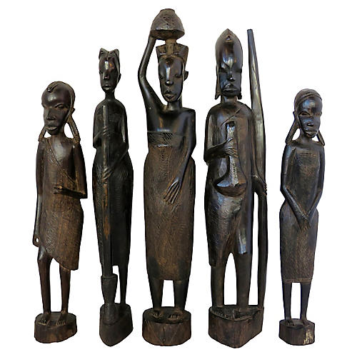 Carved African Figurines, Set of 5