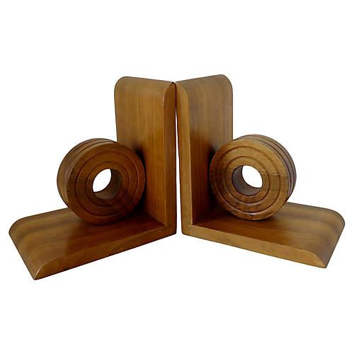 Oak Wood Bookends, Pair