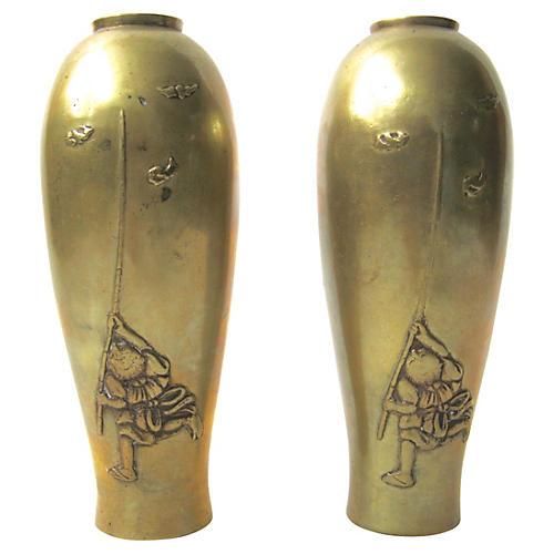 Bronze Chinese Vases, Pair