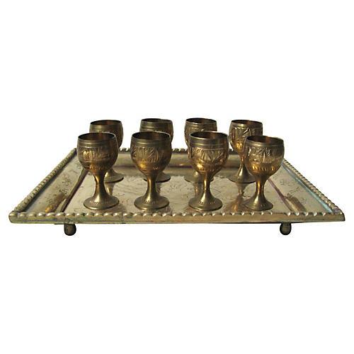 Brass Cordials w/ Tray, S/9