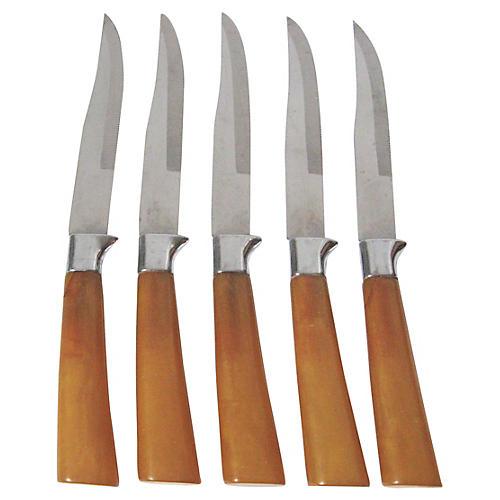 Sheffield Bakelite Steak Knives, S/5
