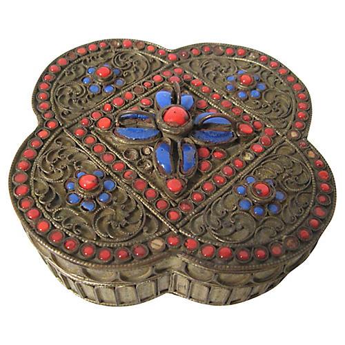 Tibetan Glass Cabochon Box