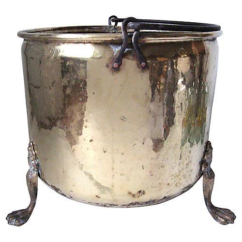 Large Brass Lion's Paw Pot