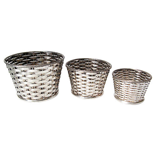 Gorham Silver-Plate Planters, S/3