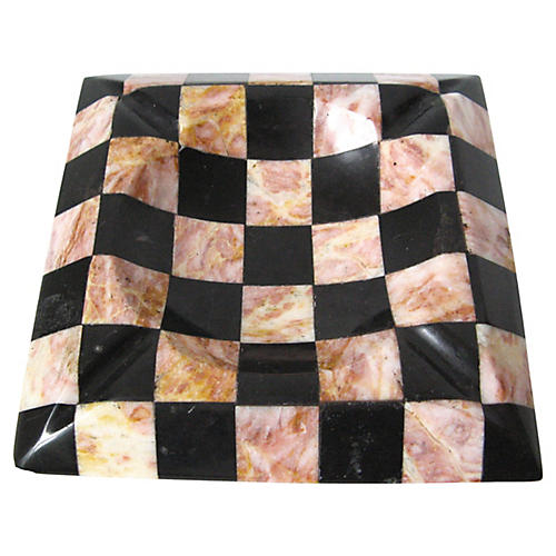 Marble Checker Ashtray