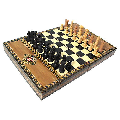 Parquetry Travel Chess Set